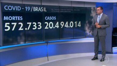 Nesta quarta, o Brasil registrou 1.030 mortes por covid-19 - A média móvel recuou 9 pontos percentuais em relação a 14 dias atrás