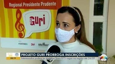 Projeto Guri prorroga inscrições até dia 24 de setembro - São 875 vagas na região de Presidente Prudente.