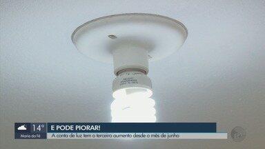 Conta de luz tem terceiro aumento desde o mês de junho - Conta de luz tem terceiro aumento desde o mês de junho