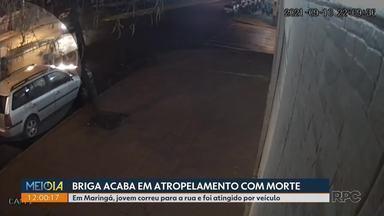 Briga acaba com uma pessoa atropelada e morta no norte do estado - Foi em Maringá. Jovem correu para a rua e foi atingido por veículo