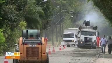 Estrada da Muribeca, em Jaboatão dos Guararapes, passa por obras de requalificação - Serviço deve durar 10 meses
