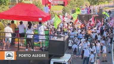 Manifestantes protestam contra o governo Bolsonaro em Porto Alegre - O ato foi organizado pelo Movimento Brasil Livre. Durante os discursos, os líderes do movimento pediram para que os participantes evitassem aglomerações.