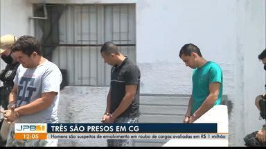 Três homens são presos por roubo de cargas em Campina Grande - Segundo a polícia, o material encontrado é contabiliza cerca de um milhão de reais