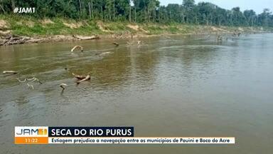Seca do rio Purus prejudica navegação entre os municípios de Pauini e Boca do Acre - Abastecimento de alimentos nesses municípios é prejudicado.