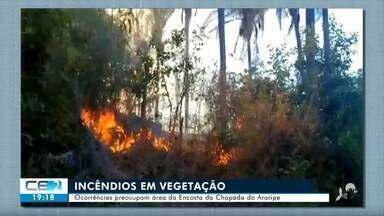 Incêndios em vegetação causam prejuízo e preocupação no Crato - Confira mais notícias em g1.globo.com/ce