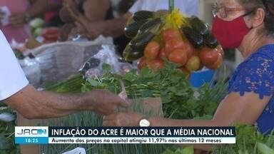 Dados do IBGE apontam que a inflação na capital ficou com pontos acima da média nacional - Dados do IBGE apontam que a inflação em Rio Branco ficou com pontos acima da média naciona