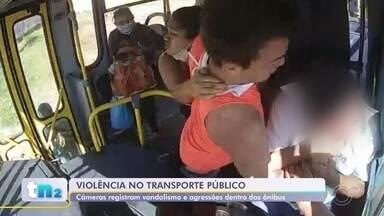 Câmeras de segurança flagram casos de vandalismo e violência em ônibus de Jundiaí - As câmeras de segurança instaladas dentro dos ônibus de Jundiaí (SP) flagraram casos de vandalismo e violência no transporte público da cidade.