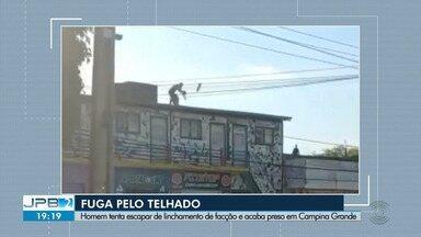 Homem tenta escapar de linchamento de facção e acaba preso em Campina Grande - Ele tentou fugir pelo telhado.