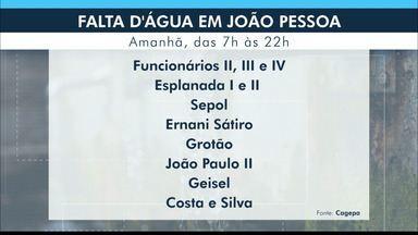 João Pessoa vai registrar falta d´água nesta quarta-feira (15) - Confira a relação de bairros com suspensão do atendimento.