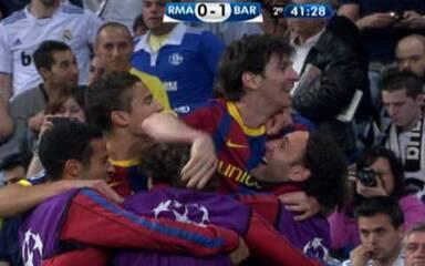 Pela semifinal de 2011, Messi fez dois no Santiago Bernabéu e praticamente garantiu a classificação do Barcelona