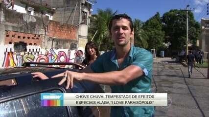 Gil Coelho, o Lindomar de I Love Paraisópolis, mostra chuva cenográfica