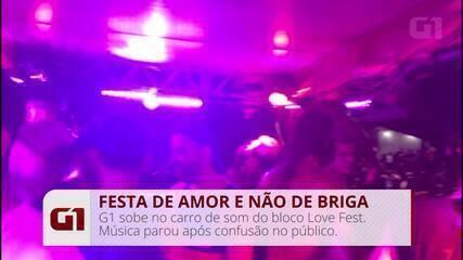 G1 sobe no carro de som do Love Fest; música parou com briga no público