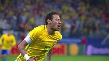 Gol do Brasil! Neymar arranca pela esquerda, invade a área, e amplia, aos 18' do 2º tempo