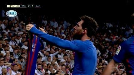 Messi cala o Santiago Bernabéu em 2017 com gol nos acréscimos em clássico contra o Real Madrid