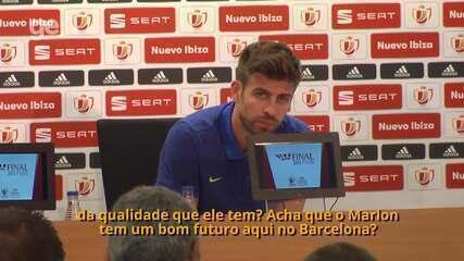 Veja Piqué falando muito bem de Marlon, ex-Fluminense