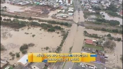 Nível do rio Carahá aumenta e preocupa moradores de Lages