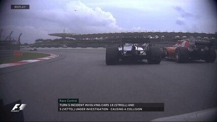 Câmera do carro de Grosjean mostra momento que Stroll bate em Vettel após bandeirada