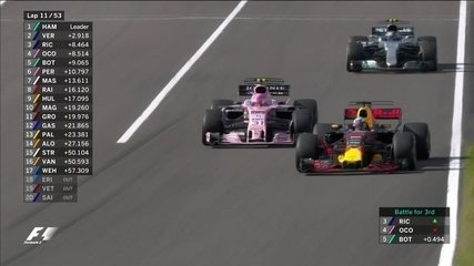 Daniel Ricciardo passa Ocon e assume a terceira posição