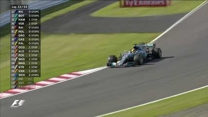 Líder, Lewis Hamilton vai aos boxes no GP do Japão