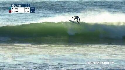 Miguel Pupo desce na onda e manda floater em outro desempenho consistente em Peniche, Portugal