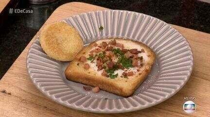 Marcelo Neves prepara Ovo no Ninho para o café da manhã do 'É de Casa'