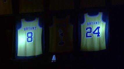 Camisas de Kobe Bryant são aposentadas no Los Angeles Lakers