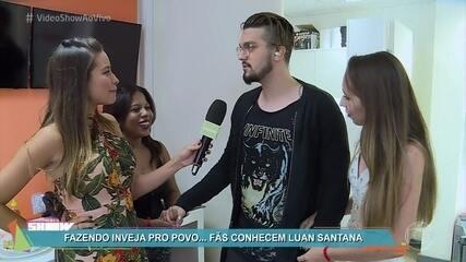 'Vídeo Show' leva fãs para o camarim de Luan Santana