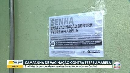 Vacinação fracionada contra febre amarela começa hoje na Capital