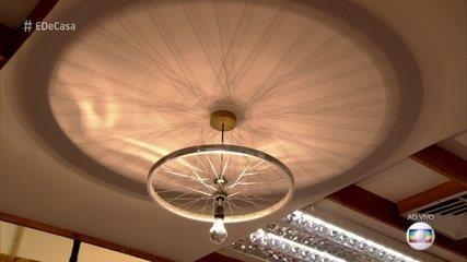 Aprenda a fazer luminárias com roda de bicicleta