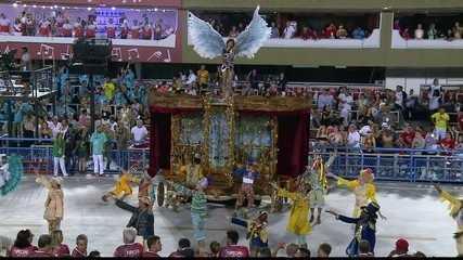 Comissão de frente da Unidos da Tijuca retrata a importância do teatro para Falabella