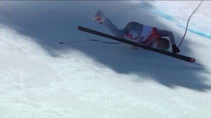 Esquiador leva tombo feio e organização muda trajeto do esqui alpino em PyeongChang