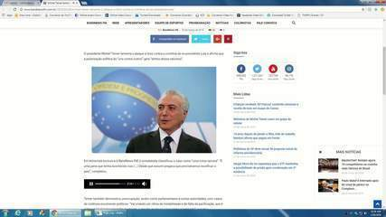 Trecho da entrevista do presidente Michel Temer à BandNews