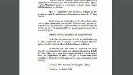 Lula tem até as 17h de sexta-feira (6) para se apresentar à PF em Curitiba