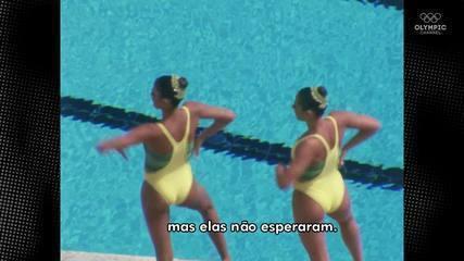 De volta ao passado! Nadadora recria maiô antigo e passa sufoco para respirar