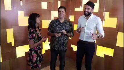 Gleici e Wagner conversam com Lair Rennó após participação no 'Encontro'