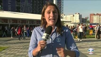 Julia Guimarães mostra o clima para o jogo entre Japão e Senegal