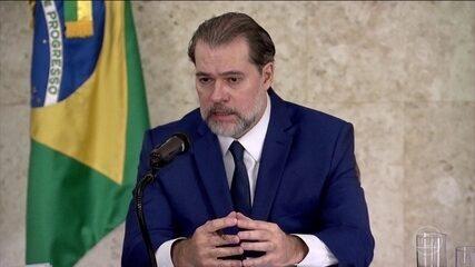 Dias Toffoli concedeu entrevista a jornalistas nesta segunda-feira (17) na sede do Supremo Tribunal Federal (STF), em Brasília