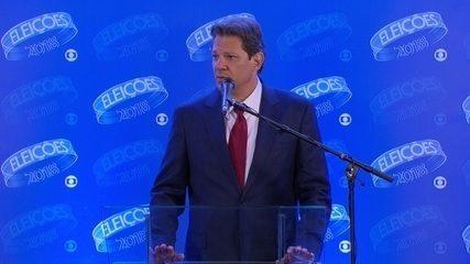 Fernando Haddad (PT) concede entrevista coletiva após debate da Rede Globo