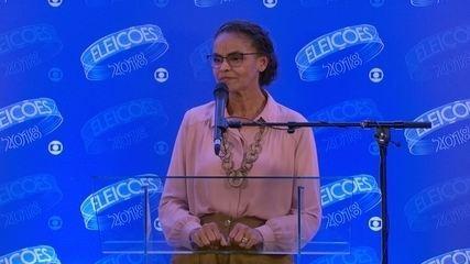 Marina Silva (Rede) concede entrevista coletiva após debate da Rede Globo
