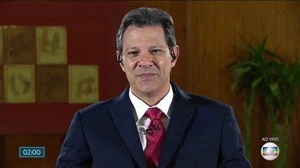 Fernando Haddad (PT) fala ao vivo no Jornal Nacional