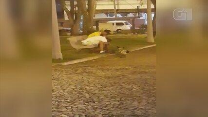 Vídeo mostra homem dando pedradas em cachorro em Gália