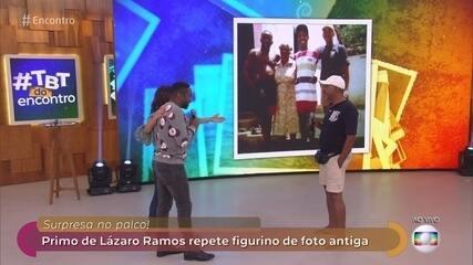 Lázaro Ramos é surpreendido por primo no palco do 'Encontro'