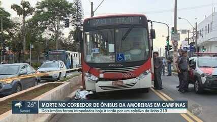 Homem morre ao ser atropelado por ônibus no corredor da Avenida Amoreiras em Campinas
