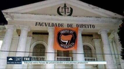 Retirada de faixa antifascista de universidade causa polêmica