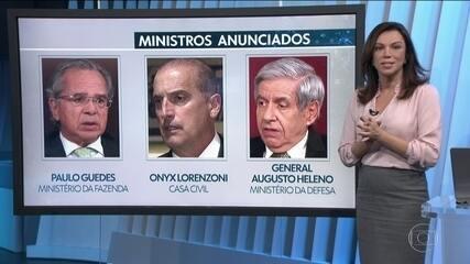 Três ministros do governo de Jair Bolsonaro já foram anunciados