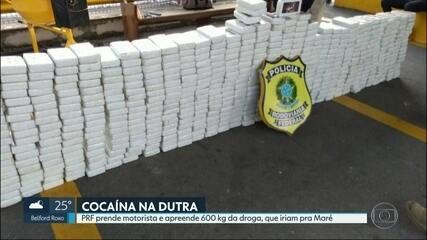 Polícia Rodoviária Federal apreende quase 600 kg de cocaína em caminhão na Via Dutra