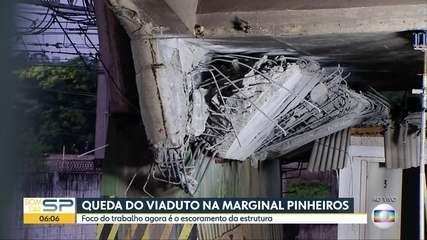 A situação no local da queda do viaduto da Marginal Pinheiros um dia depois do acidente