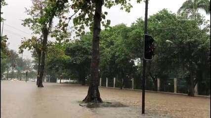 Chuva causa alagamentos na Lagoa e Jardim Botânico