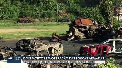 Dois suspeitos são mortos em confronto com o Exército, em operação das Forças Armadas