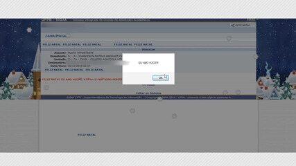Aluno muda layout de sistema da UFPB e envia mensagem de Natal com flocos de neve